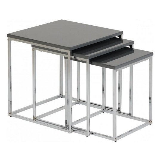 View Andi nest of tables in grey gloss with chrome legs