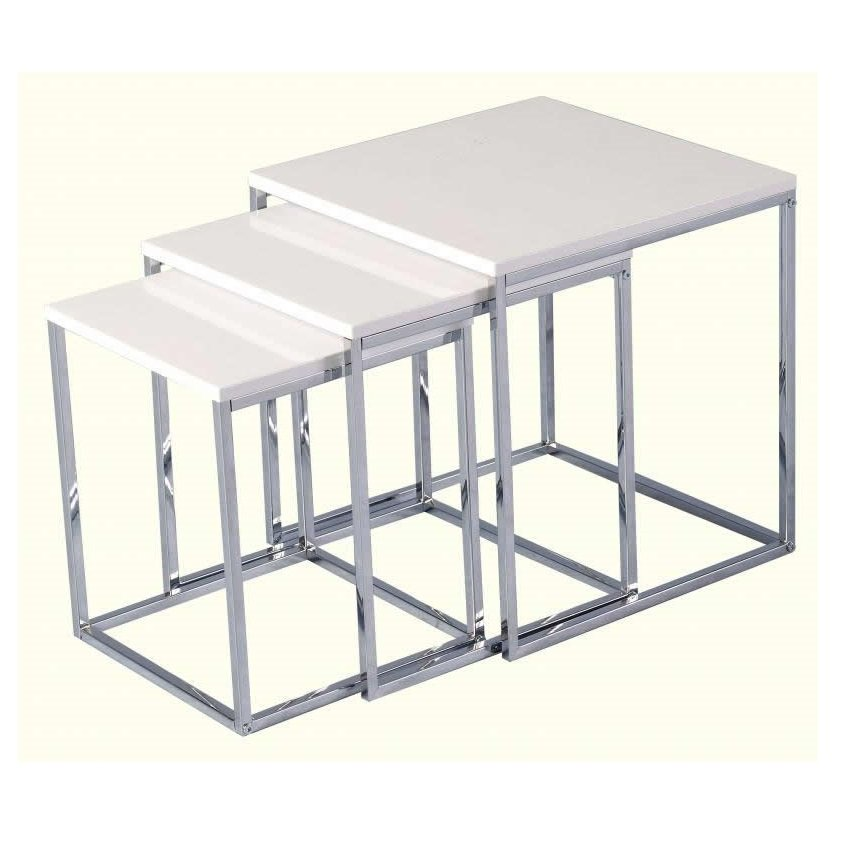 View Andi nest of tables in white gloss with chrome legs