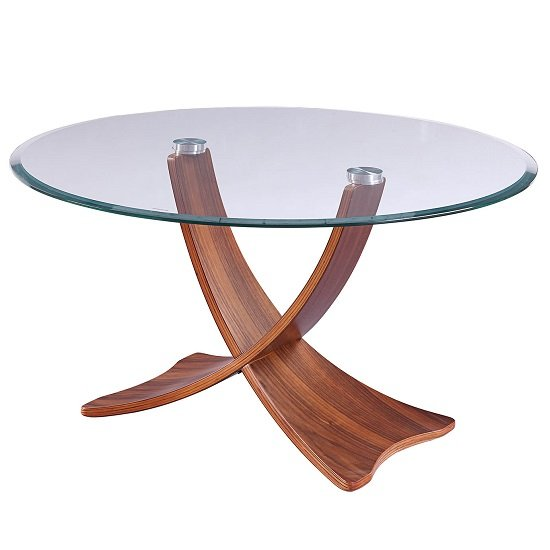 View Anfossi glass coffee table round in clear with walnut legs