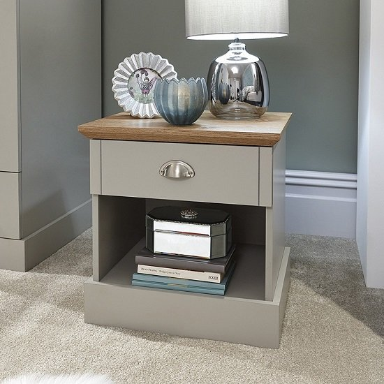 View Ervin bedside table in soft grey with oak effect top