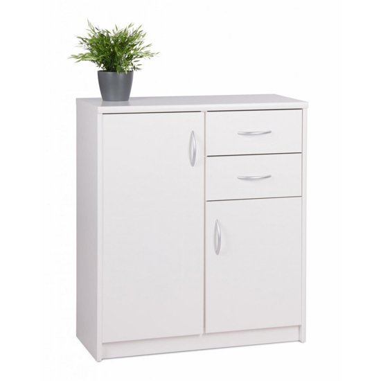 View Aquarius small sideboard in white with 3 doors and 2 drawers