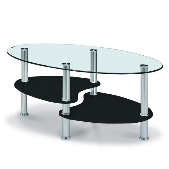 View Archet glass coffee table in clear with black gloss shelves