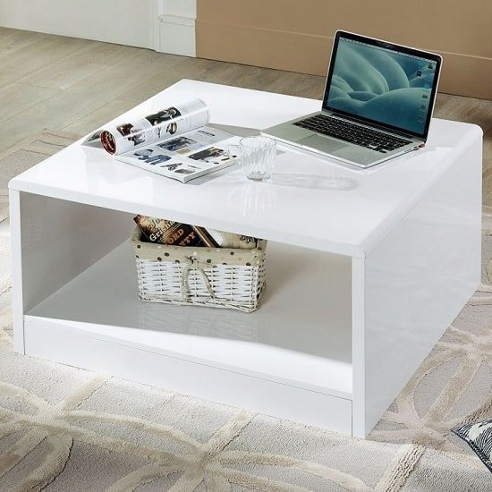 View Arden contemporary coffee table square in white high gloss