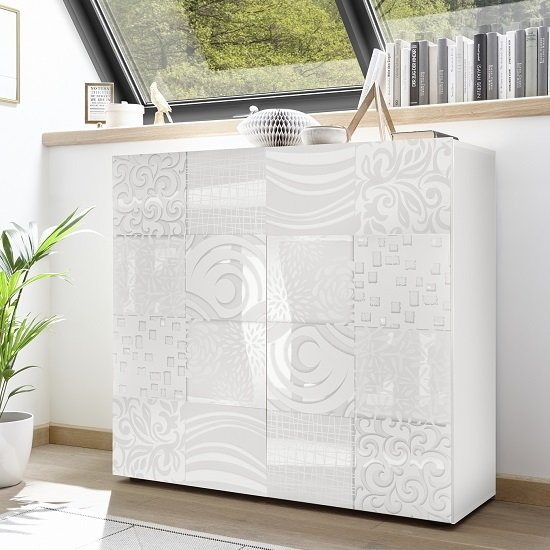 View Ardent modern highboard in white high gloss with 2 doors