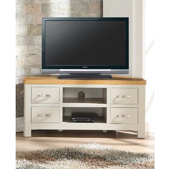 View Areli stone painted corner tv unit with 4 drawers