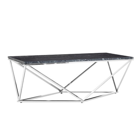 View Armenia faux marble coffee table in black and chrome