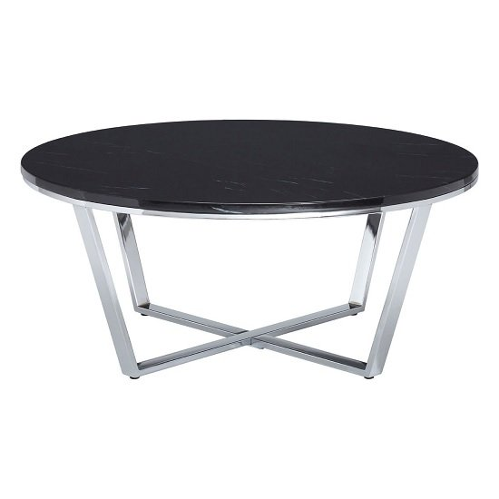 View Armenia faux marble coffee table round in black and chrome legs