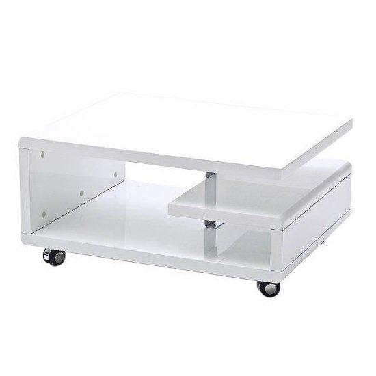 View Asellus coffee table in white high gloss with castors