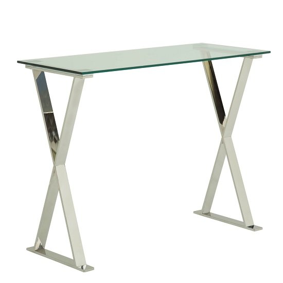 View Aspire glass computer desk in clear with stainless steel finish