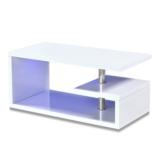 View Astana led coffee table in white high gloss