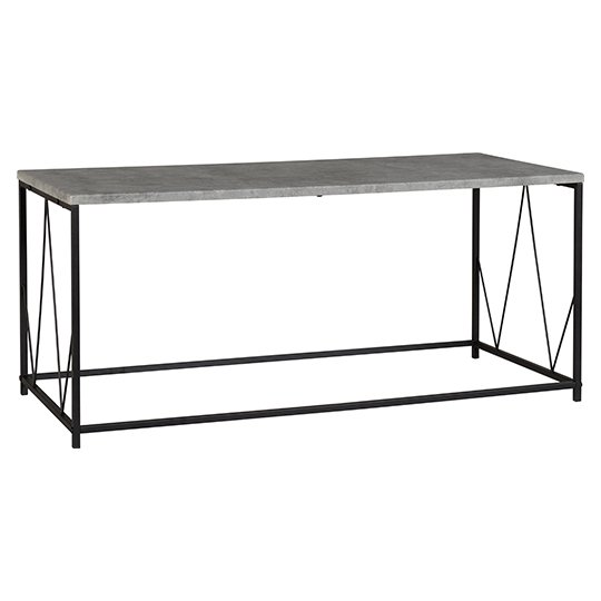 View Athens rectangular coffee table in concrete effect and black