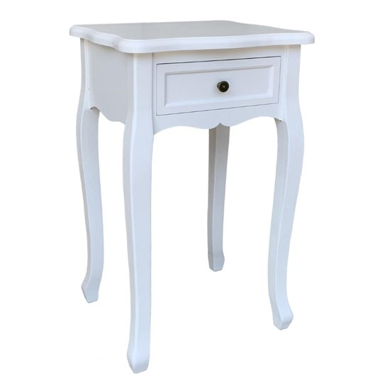 View Austrini wooden bedside table in white with 1 drawer