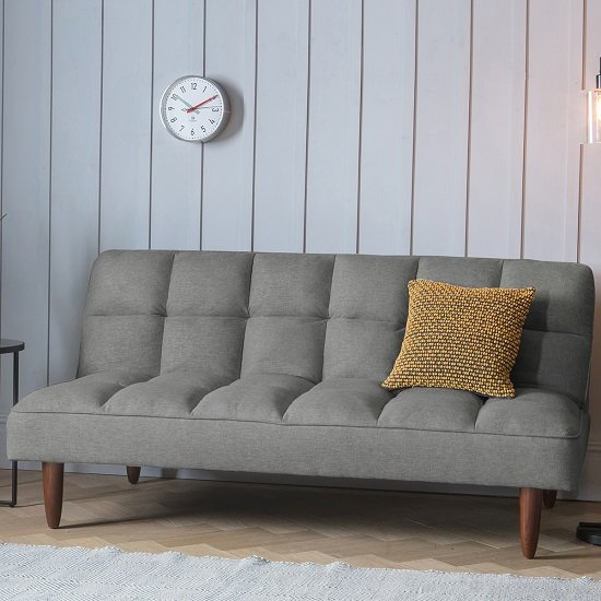 View Azcona contemporary fabric sofabed in frost grey