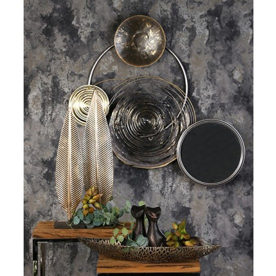 View Banks metal wall art in silver and grey with mirror