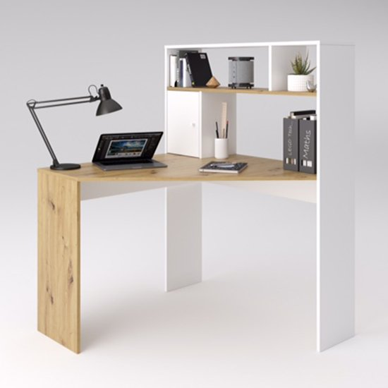 View Barrys wooden computer desk in artisan oak and white