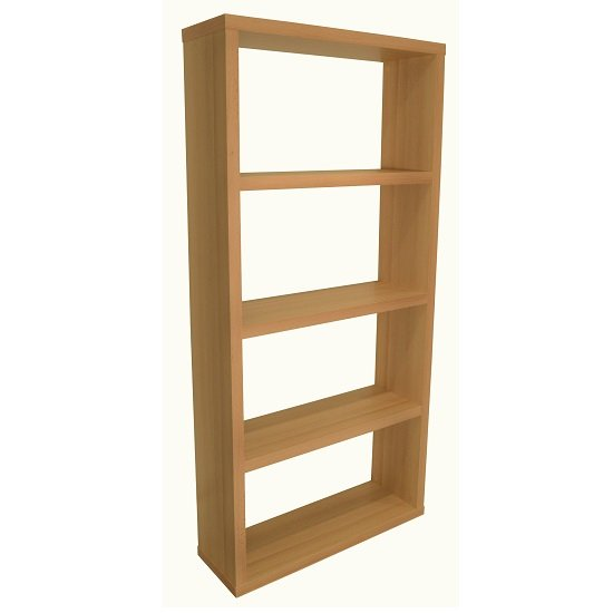 View Bastian wooden wide bookcase in beech with 3 shelf