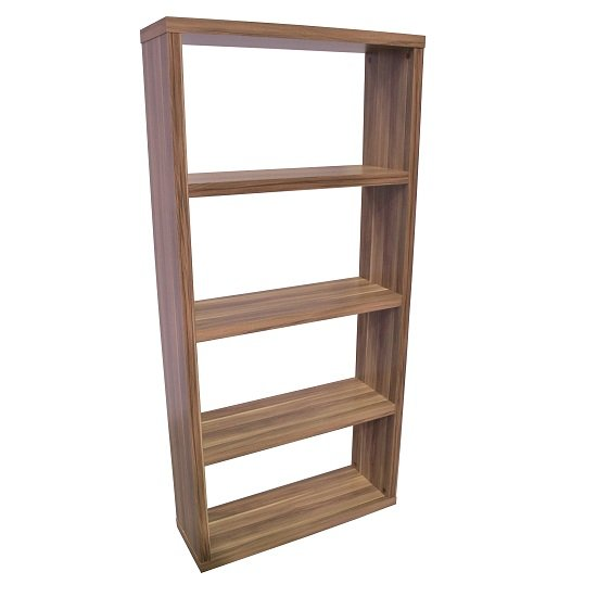 View Bastian wooden wide bookcase in walnut with 3 shelf