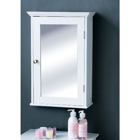 View Bathroom cabinet in white wood with a mirrored door