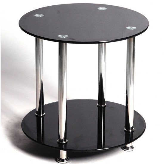 View Benton black glass lamp table with stainless steel legs