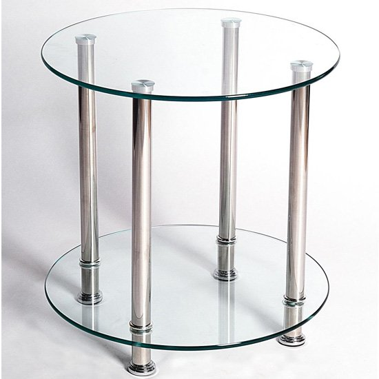 View Benton clear glass lamp table with stainless steel legs