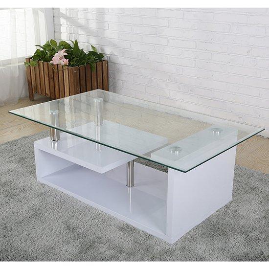View Bernard glass coffee table in white high gloss