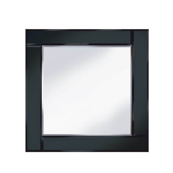 View Bevelled black 60x60 square wall mirror