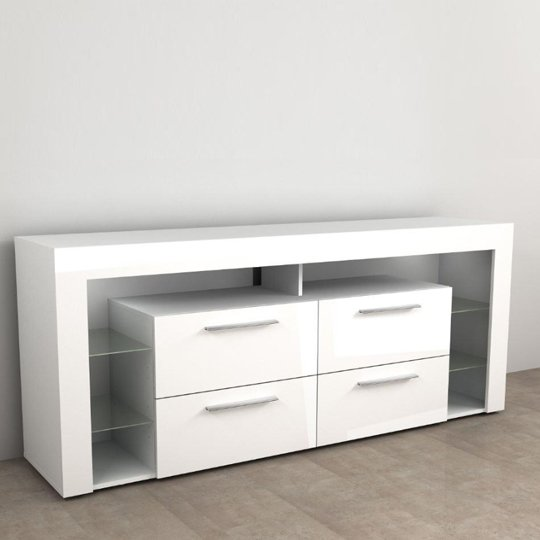 View Borealis hi-fi lowboard tv unit in high gloss white
