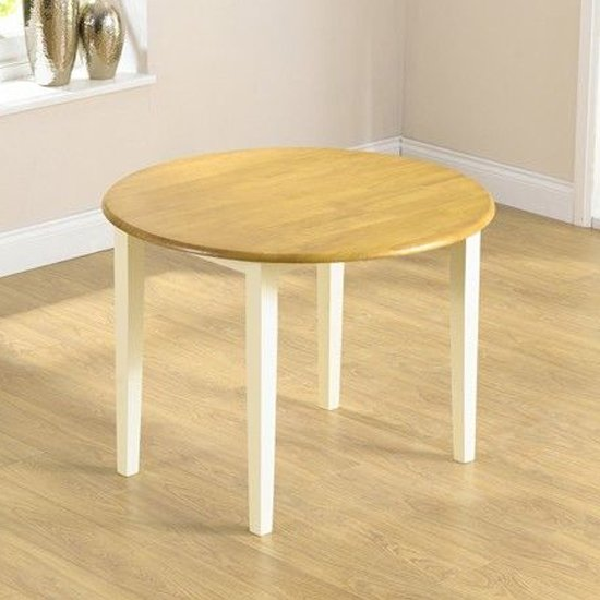 View Botein wooden drop leaf extending dining table in oak and cream