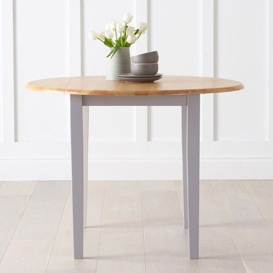 View Botein wooden drop leaf extending dining table in oak and grey