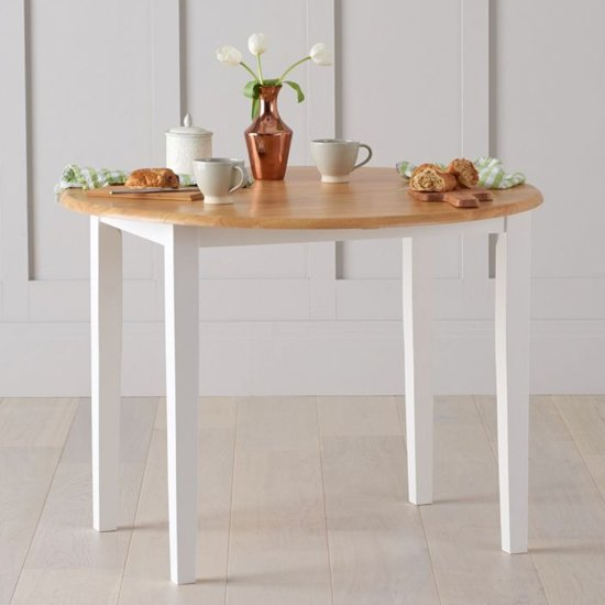 View Botein wooden drop leaf extending dining table in oak and white