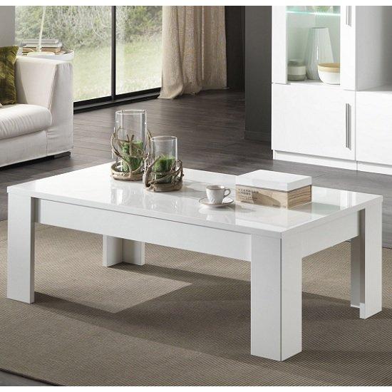 View Breta coffee table rectangular in white high gloss