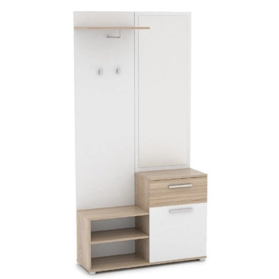 View Breva wooden hallway stand in sonoma oak and white