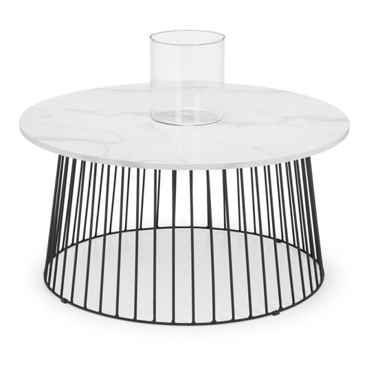 View Broadway round marble coffee table in satin white