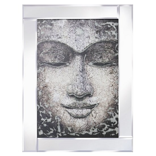 View Buddha face modern glass wall art on mirror frame