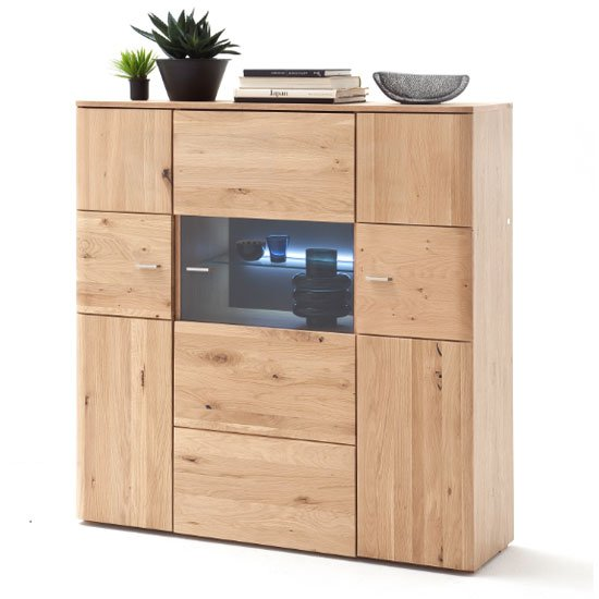 View Buffalo led wooden highboard in planked oak with 3 doors