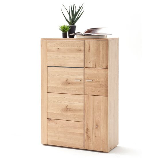 View Buffalo wooden highboard in planked oak with 2 doors