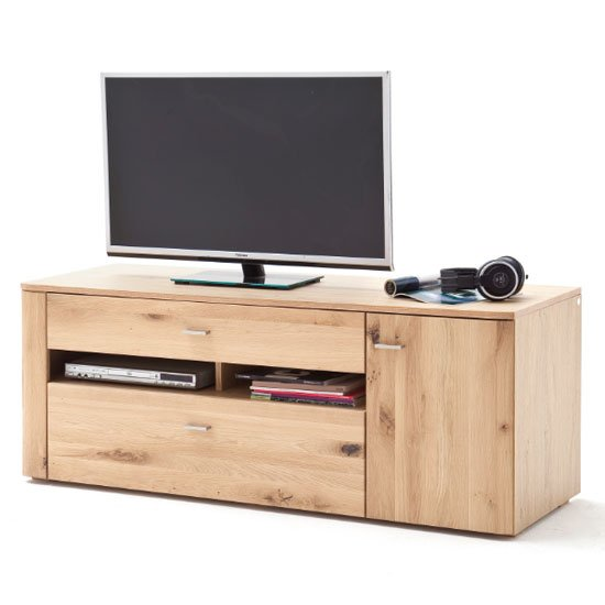 View Buffalo wooden small tv unit in planked oak
