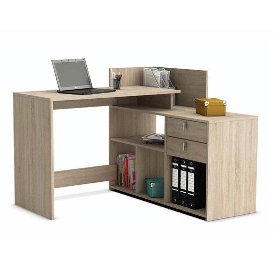 View Bylan corner computer desk in brushed oak with storage