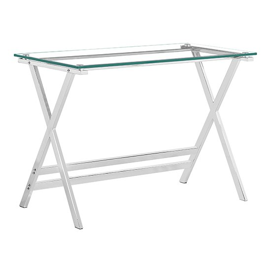 View Cadet glass console table with chrome metal legs