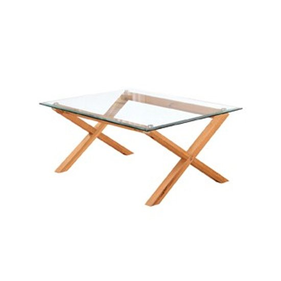 View Cadiz glass coffee table in oak