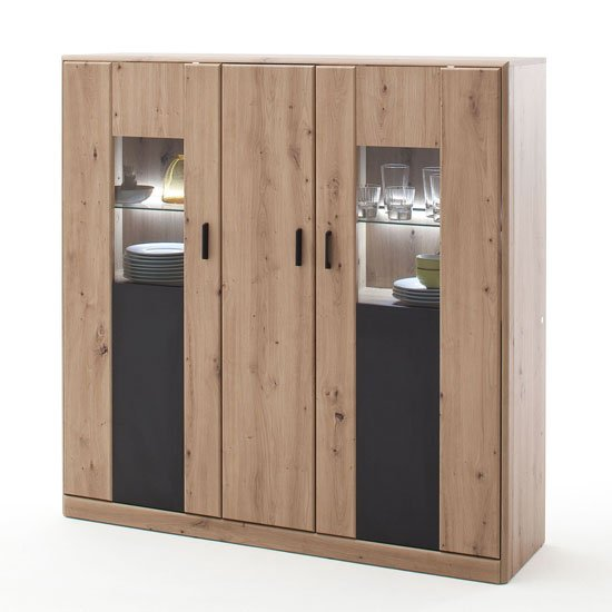 View Calais led wooden highboard in planked oak with 3 doors
