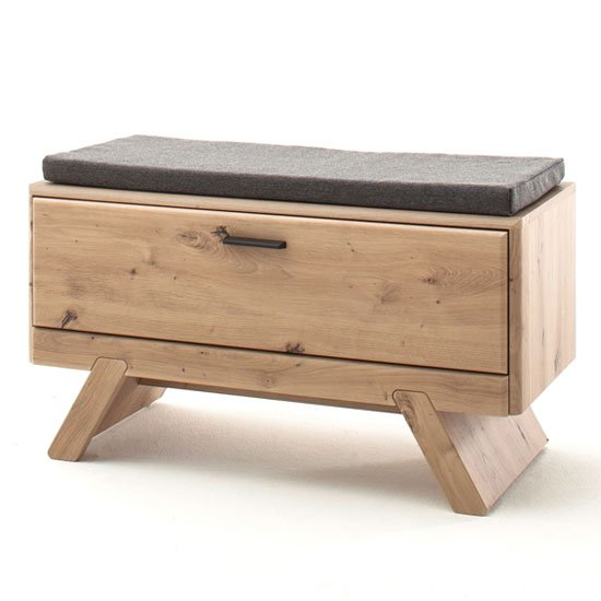 View Calais wooden shoe storage bench in planked oak