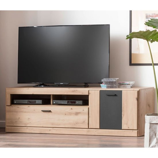 View Calais wooden small tv unit in planked oak
