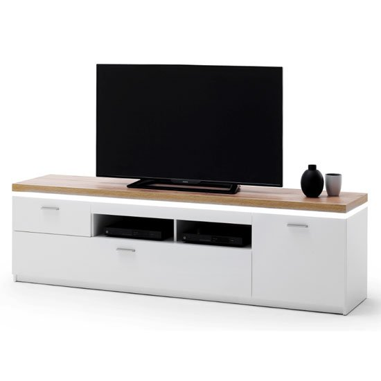 View Cali led wooden large tv unit in oak and white