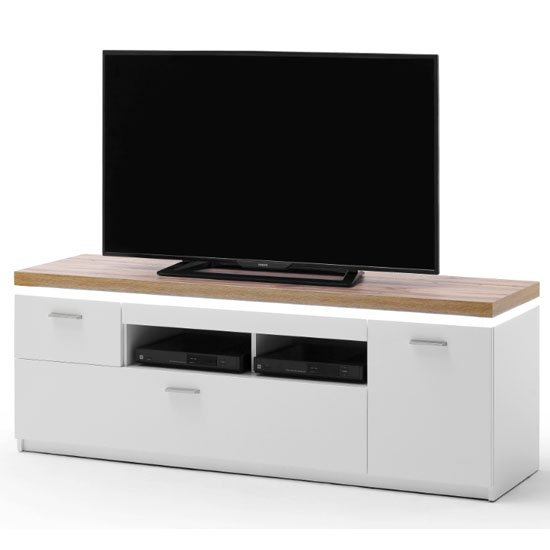 View Cali led wooden small tv unit in oak and white