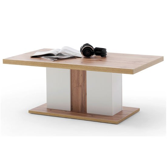View Cali wooden coffee table in oak and white