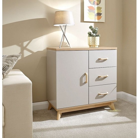 View Calila small sideboard in light grey with 3 drawers and 1 door
