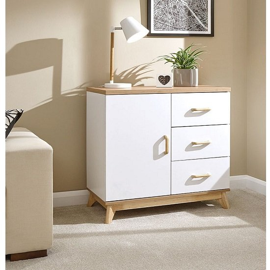 View Calila small sideboard in white with 3 drawers and 1 door