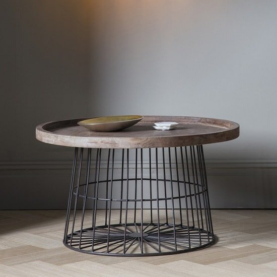 View Calvia wooden coffee table round with metal legs