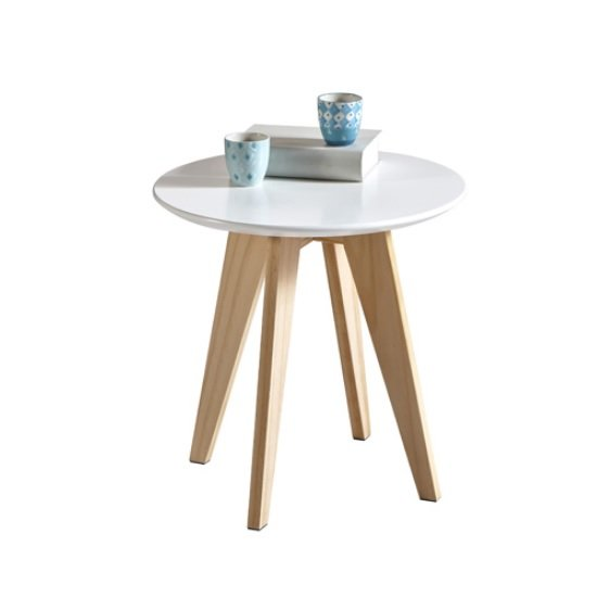 View Camara wooden coffee table round in white